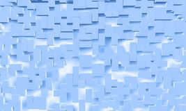 Abstract background of blue cube shapes. Light blue abstract cgi 3d illustration of cubes Stock Photography