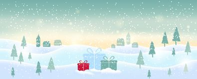 Light blue abstract Christmas background with white sparkling sn. Owflakes. Winter holiday illustration of  landscape with presents, space for text. Template for Royalty Free Stock Photography
