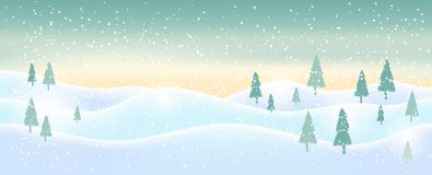 Light blue abstract Christmas background with white sparkling sn. Owflakes. Winter holiday illustration of  landscape with  space for text. Template for Stock Photography