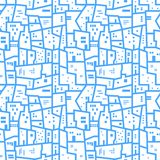 Light blue abstract urban seamless pattern. Landscape with city blocks. Vector background. Light blue abstract urban seamless pattern. Landscape with city Royalty Free Stock Photos