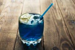Light blue alcoholic drink curacao liqueur Royalty Free Stock Photos