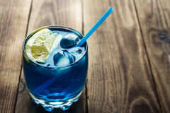 Light blue alcoholic drink curacao liqueur stock photography