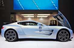 Light blue Aston Martin ONE-77 Royalty Free Stock Image