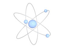 Light blue atom structure on white background. 3D rendered light blue atom structure on white background Royalty Free Stock Photography
