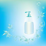 Light blue background. With cosmetic container and leaves Royalty Free Stock Images