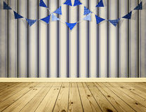 Light blue background with blue pennants festoon. Light blue background with pennants festoon in sea style Stock Photo
