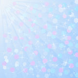 Light blue background. Blurred light blue background with stars Royalty Free Stock Image