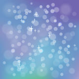 Light blue background. With bokeh and glittering stars. Vector image Stock Images