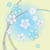 Light blue background with decorative flowers Stock Photography