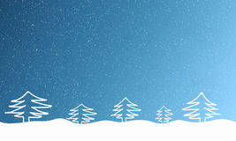 Light blue background with falling snowflakes and fur trees Stock Photos
