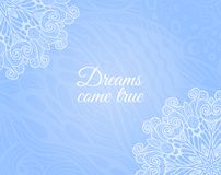 Light blue background with floral doodle Stock Images