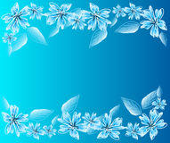 Light blue background with flowers. Illustration of light blue background with blossoms Royalty Free Stock Image