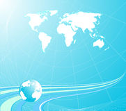 Light blue background with globe royalty free illustration