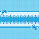 Light blue background. Lace. Vintage background with lace border and satin ribbon with a bow. Invitation card or template shower card baby. Vector Image Royalty Free Stock Photography