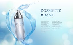 Light-blue background with moisturizing cosmetic premium product Royalty Free Stock Photo