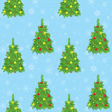Light blue background with vector new year trees and snowflakes Stock Image