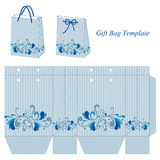 Light blue bag template with stripes and floral pattern Royalty Free Stock Photos