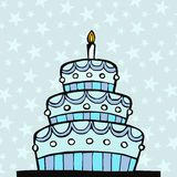 Light blue birthday cake Stock Image