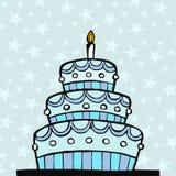Light blue birthday cake stock image