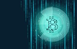 Light blue bitcoin sign cryptocurrency in hud target. Low poly geometric finance e-commerce online pay blockchain system. Gold color black binary code Stock Images