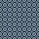 Light blue on black two different sized squares with circles seamless repeat pattern background. Two colour two different sized squares with circles seamless Royalty Free Stock Photography