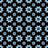 Light blue on black with two different sized stars with squares and circles seamless repeat pattern background. Two colour of two different sized stars with Royalty Free Stock Images