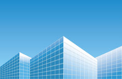Light blue buildings on skyline - vector background Royalty Free Stock Images