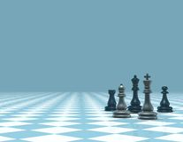 Light blue business background with chess figures Stock Photo