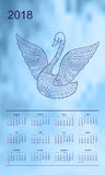 Light blue calendar year 2018 swan. Business english calendar for wall on year 2018 on the gradient background with hand drawn patterned swan. Week starts on Stock Photo