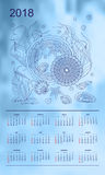 Light blue calendar year 2018 underwater world. Business english calendar for wall on year 2018 on the gradient background with hand drawn seashells and mandalas Stock Photography