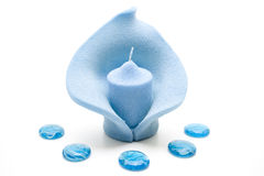 Light blue candle with glass stones Stock Photography