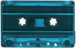 Light blue cassette tape. Retro light blue plastic cassette tape Stock Photo