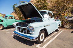 Light Blue 1955 Chevrolet 3100 Big Window Truck Royalty Free Stock Image