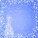 Light blue christmas background. Light blue  christmas background of christmas tree and snowflakes border Royalty Free Stock Photo
