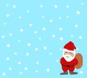 Santa on light blue christmas background. Stock Images