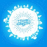 Light blue christmas card. With handwritten lettering Royalty Free Stock Photo