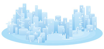 Light-blue cityscape. Royalty Free Stock Photos