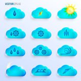 Light Blue Clouds with Weather Signs Stock Image