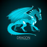 Light-Blue Colored Dragon. Light-Blue Colored Sparkling Dragon on a Dark Background Vector Illustration