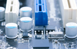 Light blue computer motherboard Royalty Free Stock Image