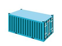 A Light Blue Container Cargo Container on White Ba Royalty Free Stock Images