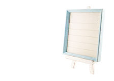 Light blue country rustic style wood frame with canvas on white Royalty Free Stock Image