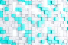 Light blue cube backdrop. Abstract light blue cube backdrop. Geometry, design concept. 3D Rendering Royalty Free Stock Photos