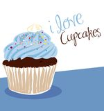 Light blue cupcake. Chocolate cupcake with light blue frosting stock illustration