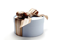 Light blue cylinder gift box with ribbon Stock Photography