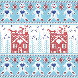 Light blue, dark blue and red Scandinavian Nordic Christmas  seamless pattern with gingerbread man , stars, snowflakes, ginger hou Stock Photography