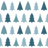 Light blue and dark blue christmas tree on a white background pa. Ttern seamless vector Stock Images