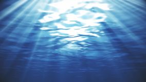 Light Blue Deep Sea Underwater with Sunlight Rays Background. Backdrop stock video