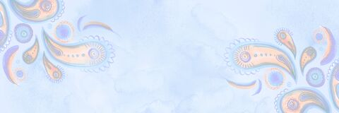 Light blue delicate watercolor paisley horizontal banner. Hand-painted background in bohemian oriental style