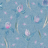 Light blue denim with colorful floral pattern. Beautiful floral seamless background. Hand draw crocus ornament. Vector Royalty Free Stock Photo